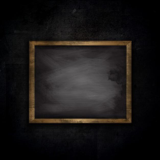 黒板とグランジレンガ壁の背景 無料写真