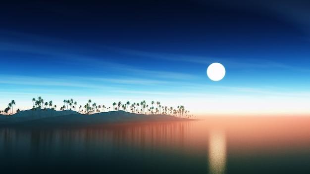 日没時のヤシの木の島 無料写真