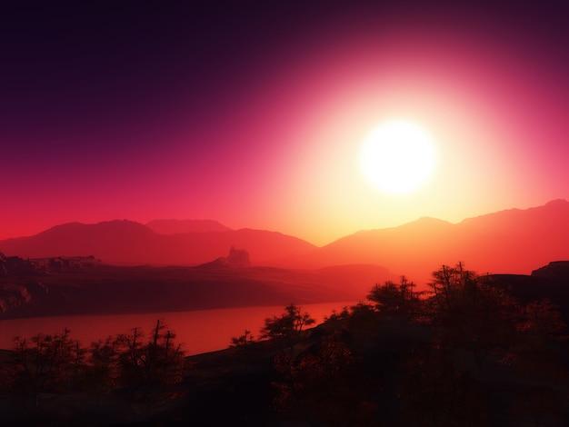 夕焼け空を背景に山脈 無料写真