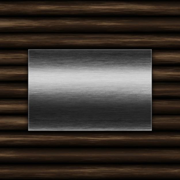古い木製の背景にグランジ金属板 無料写真