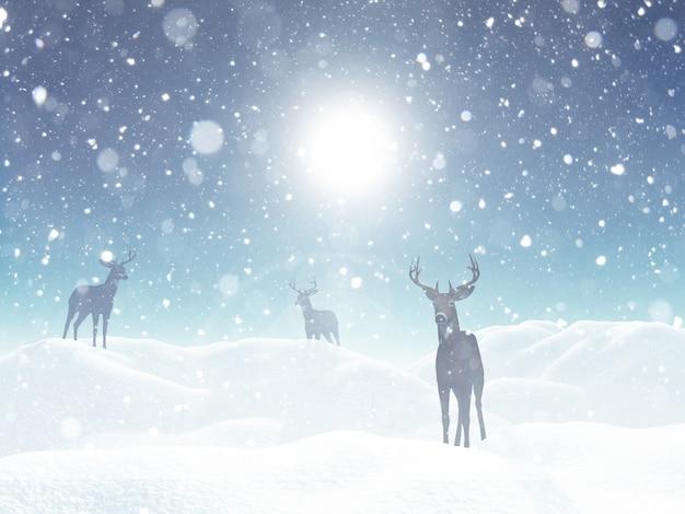 雪の中で鹿のある冬景色 無料写真