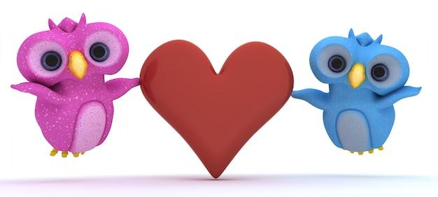 Милая пара птиц с красным сердцем Бесплатные Фотографии