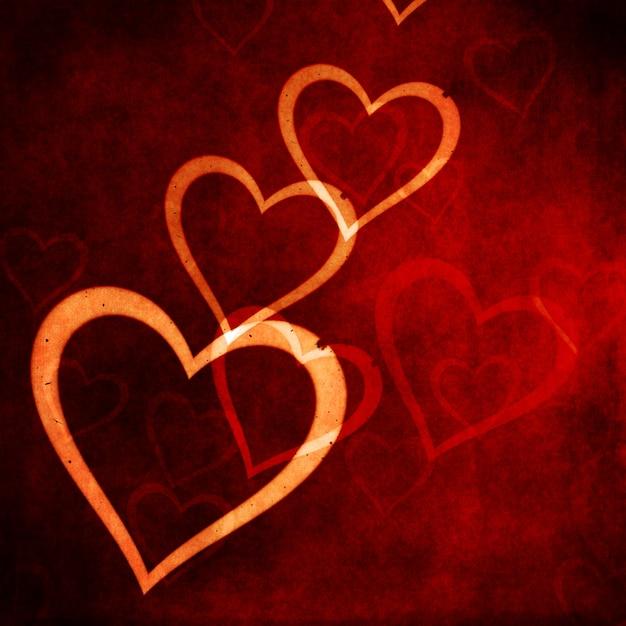 グランジスタイルの心のデザインとバレンタインデーの背景 無料写真
