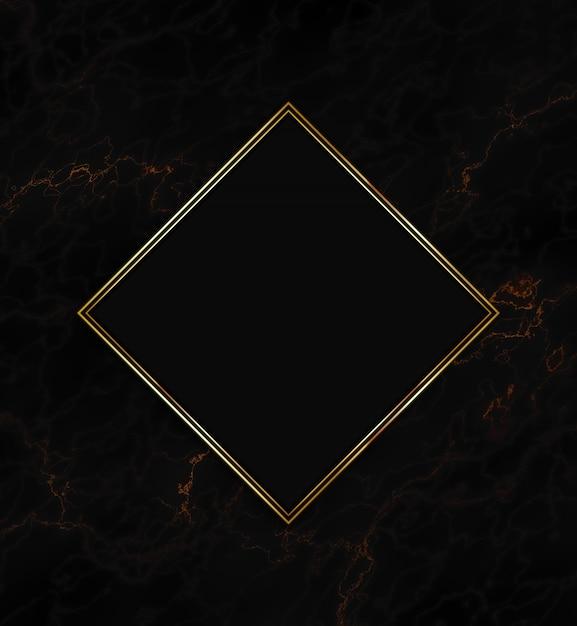 黒のテクスチャ背景にゴールドフレーム 無料写真