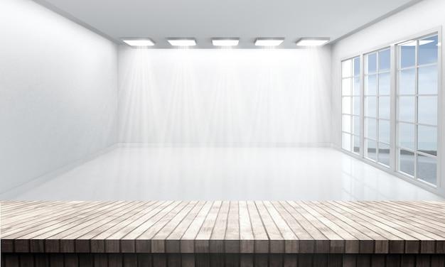 Деревянный стол с видом на белую пустую комнату Бесплатные Фотографии