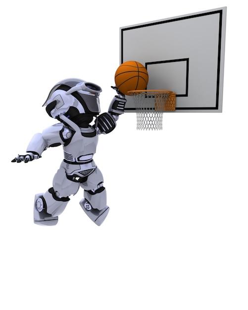 ロボットがバスケットボールをする 無料写真