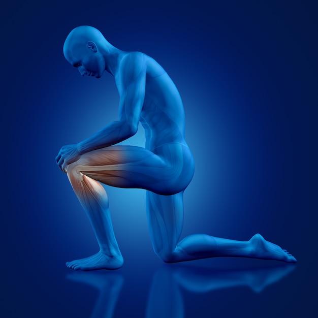 床に膝を持つ男 無料写真