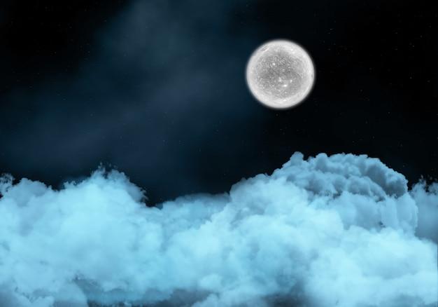 雲の上の架空の月と夜の空 無料写真