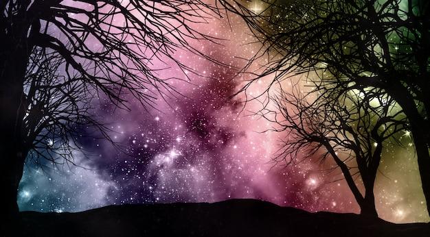 スターフィールドの夜の空、木のシルエット 無料写真