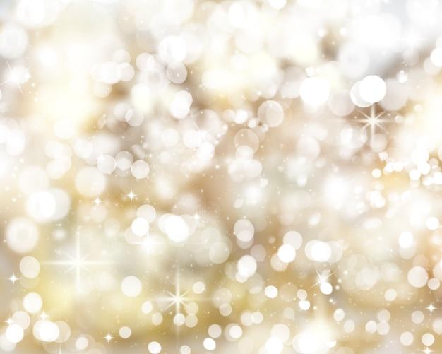 ゴールデンクリスマスライト背景 無料写真