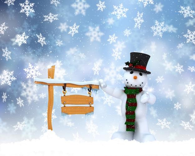 クリスマス雪だるまの背景 無料写真