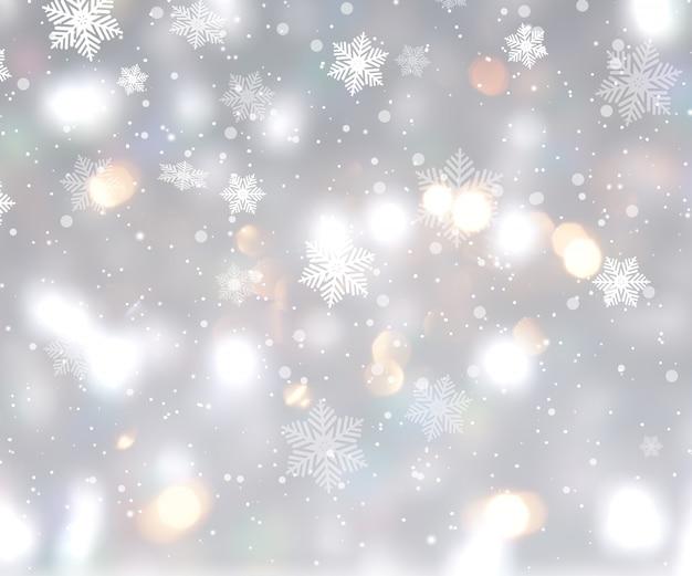 ボケライトと雪片のあるクリスマスの背景 無料写真