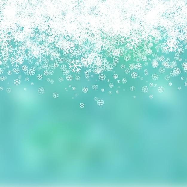 クリスマスの背景と雪片のデザイン 無料写真