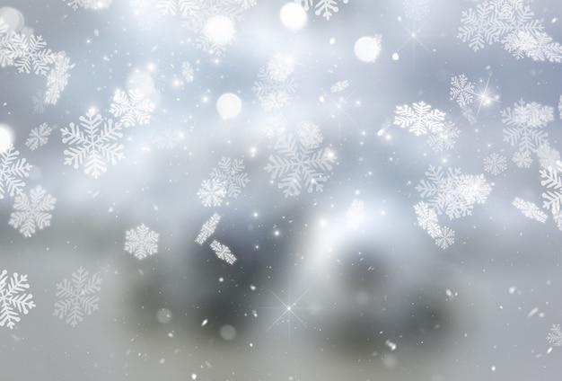 クリスマスの雪と星 無料写真