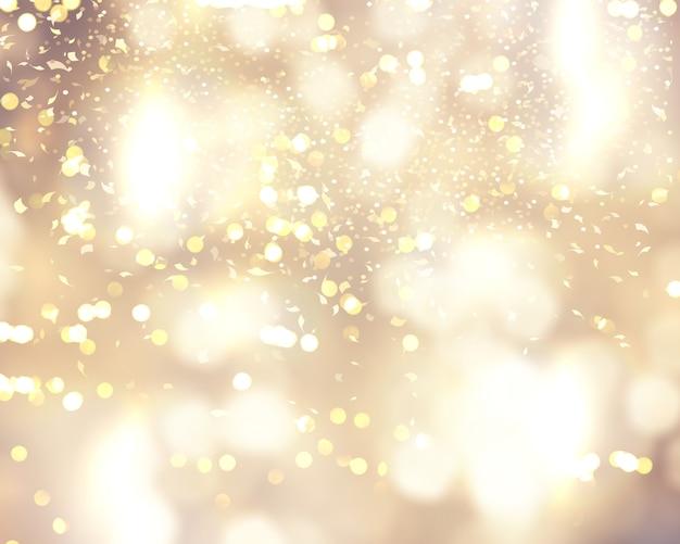 クリスマスの背景に紙吹雪とボケライト 無料写真
