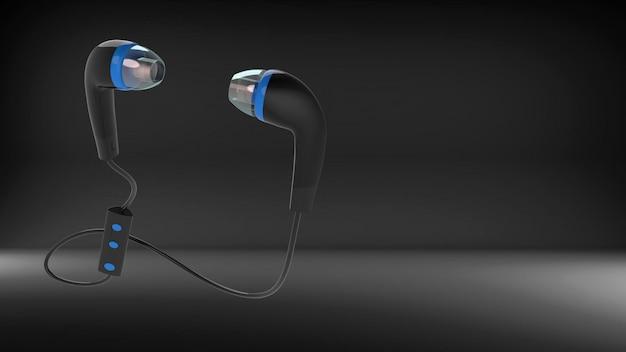 Иллюстрация пары черных наушников на черном Premium Фотографии