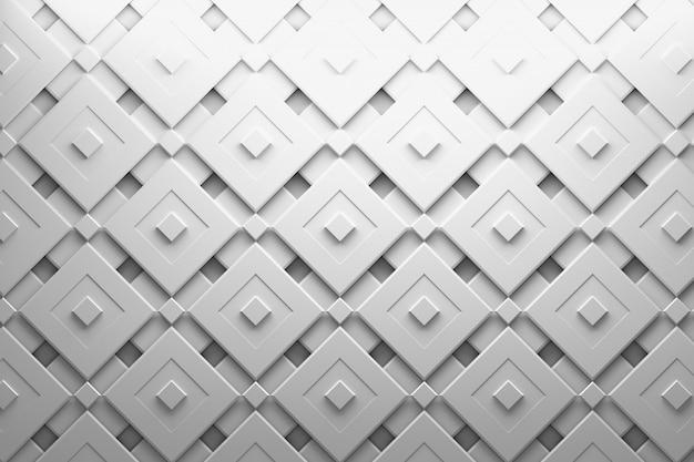 Многослойный рисунок с вращающимися квадратами и желобками белого серого цвета Premium Фотографии