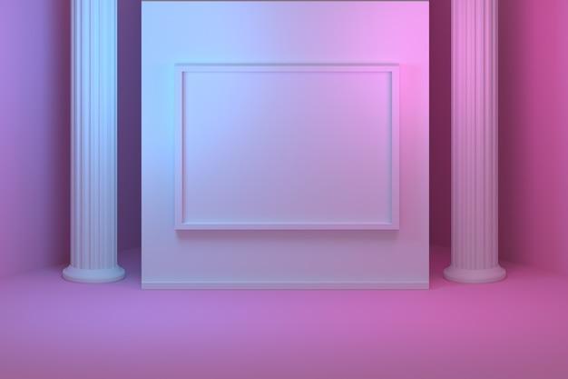 Макет для презентации с греческими колоннами и колоннами и пустой пустой рамкой. комната наполнена розовым и синим светом. Premium Фотографии
