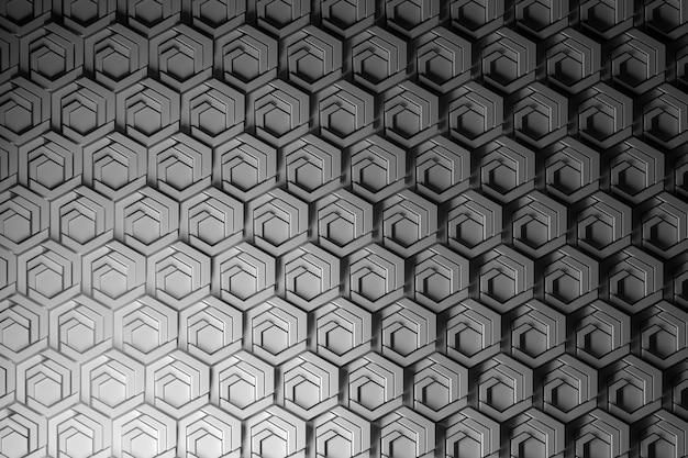 Повторяющиеся структуры, рисунок с тонкими высокоструктурированными шестиугольниками. шестиугольники резаные и фасонные. сотовый образец. Premium Фотографии