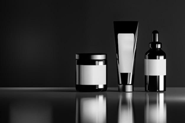 Набор черных косметических бутылок с белыми пустыми этикетками на светоотражающей блестящей фоне. Premium Фотографии