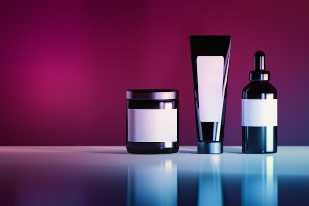 Набор черных косметических бутылок с белыми пустыми метками Premium Фотографии