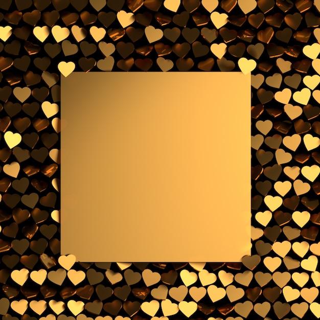 多くの黄金の光沢のある心とテキスト用の空白のカードとバレンタインのグリーティングカード。 Premium写真