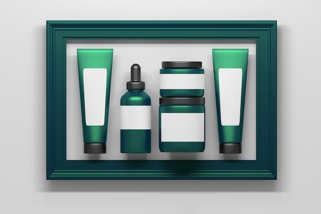 大きな緑の枠に囲まれた白空白の明確なラベルを持つ緑の化粧品包装ボトルチューブコレクションのセット Premium写真