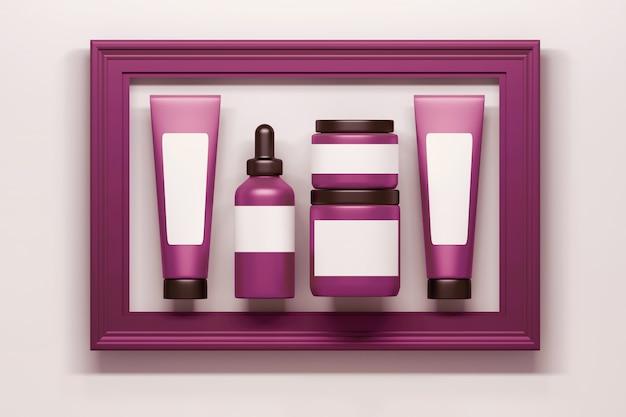 フレーム付きピンク化粧品包装ボトルチューブのセット Premium写真