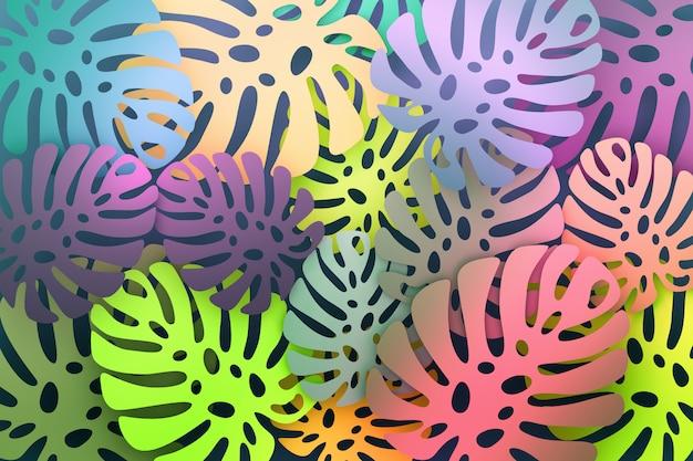 大きなモンステラの葉とカラフルな鮮やかな熱帯パターン Premium写真