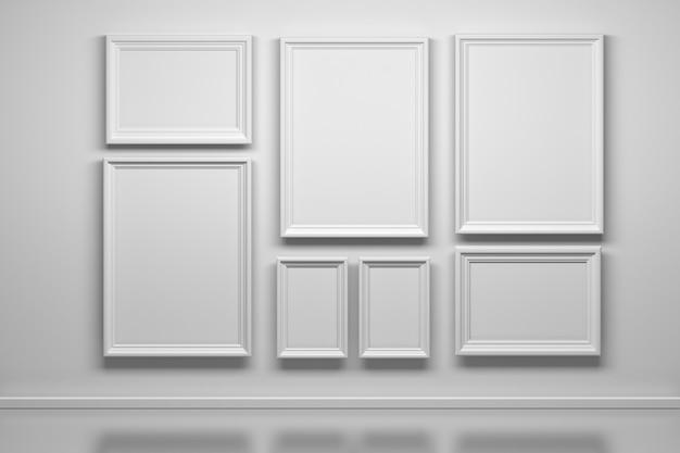 多くの白いフレームの背景のセット Premium写真