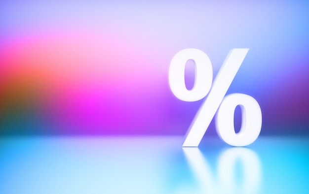 ピンクブルーグラデーションの背景に大きな白いパーセントパーセント記号 Premium写真