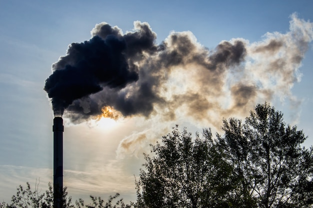 工業用パイプと大量生産工場の煙 Premium写真