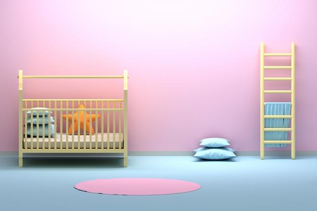 Детская комната для новорожденных с колыбелью, лестницей и пустой стеной Premium Фотографии