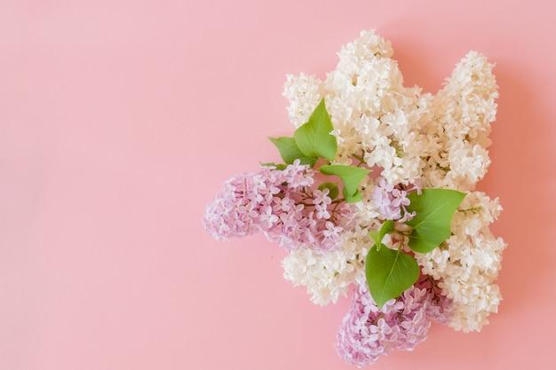 Фиолетовый и белый сиреневый букет на розовом фоне. цветочная композиция Premium Фотографии