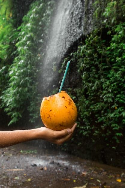 女性は滝の横にあるココナッツの飲み物を手に保持します。 Premium写真