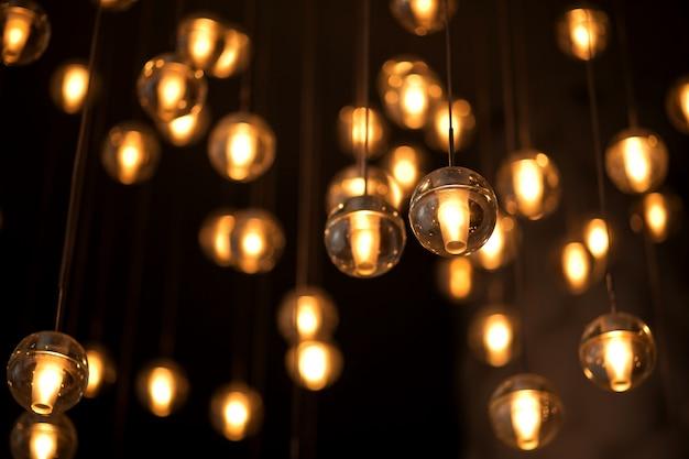 電球の照明のための装飾された電気花輪 Premium写真