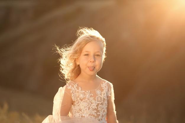 夕暮れ時のフィールドでポーズをとって、ピンクのドレスで美しいプリンセス少女の肖像画 Premium写真