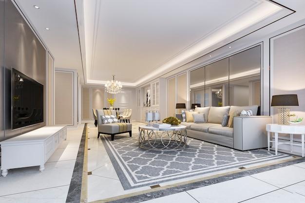 Современная столовая и гостиная с роскошным декором и тканевым диваном возле зеркала Premium Фотографии