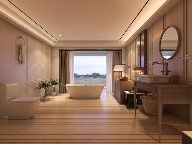 クラシックな家具と美しい景色を望む豪華なバスルーム Premium写真