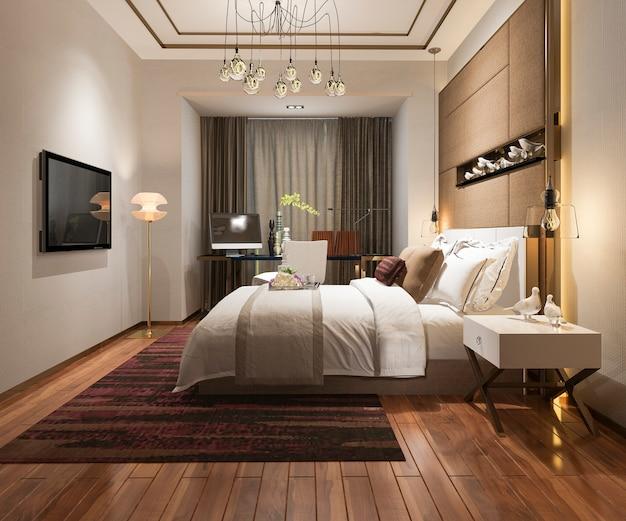 Красивая роскошная спальня в отеле с телевизором Premium Фотографии