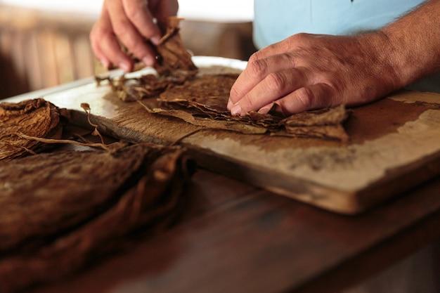 キューバのヴィニャーレスの典型的な農場でタバコの葉巻を作る Premium写真