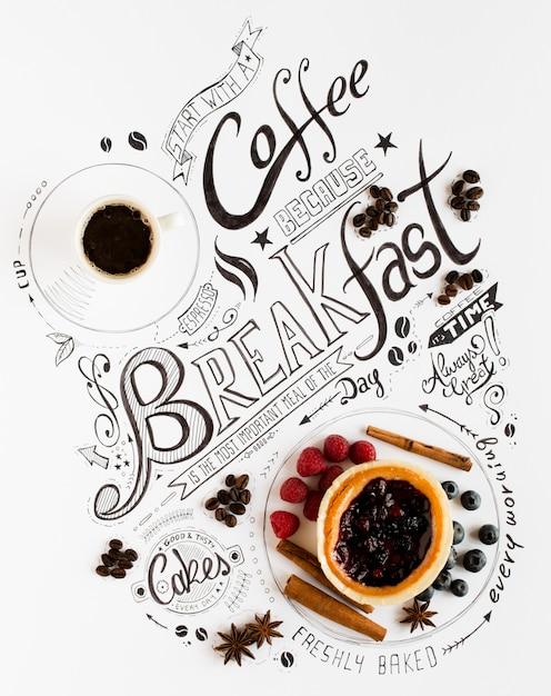 手描きの朝食レタリングタイポグラフィ Premium写真