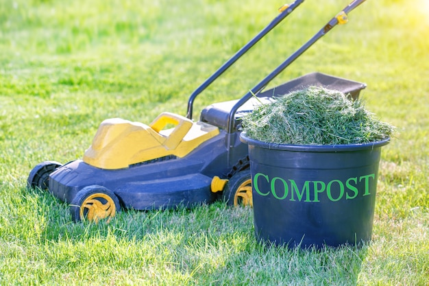 庭の芝生の上をクリッピング新鮮な草の完全堆肥箱 Premium写真