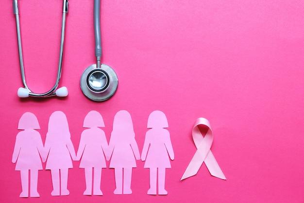 Розовая лента и стетоскоп на розовом фоне, символ рака молочной железы у женщин Premium Фотографии