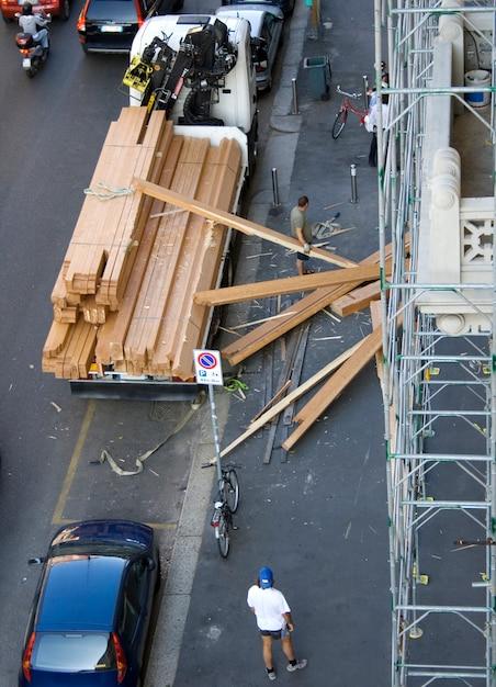 工事現場での災害 Premium写真