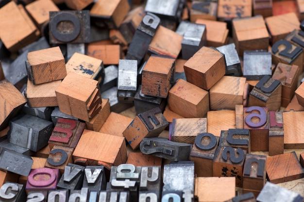 英字スタンプ、ブロック文字 Premium写真