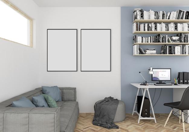 スカンジナビアのティーンエイジャーの部屋、空のダブルフレーム Premium写真