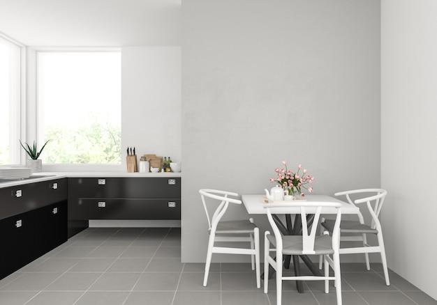 空白の壁とモダンなキッチン Premium写真