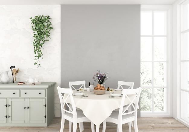 空の壁と北欧のキッチン Premium写真