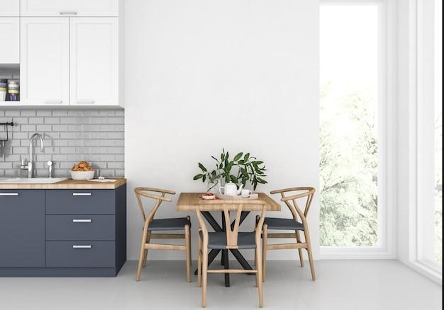 空白の壁、アートワークの背景、インテリアのモックアップとモダンなキッチン Premium写真